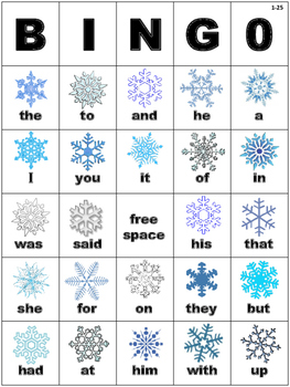 Snowflake Winter Themed Dolch Sight Word BINGO