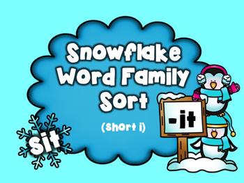 Snowflake Word Family Sort: Short i