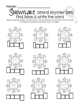 Snowflake Word Mysteries -  Read, Solve, & Write