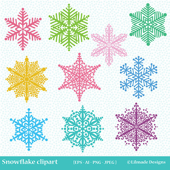 Snowflake clipart, winter clipart, holiday clipart