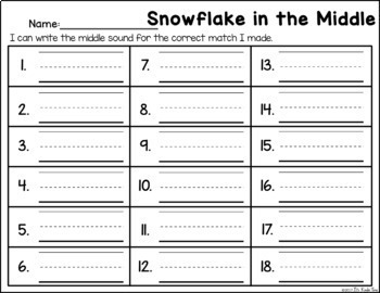 Snowflake in the Middle - Medial Sound Identification