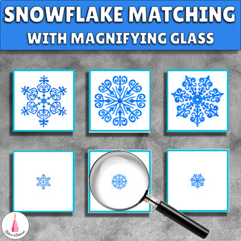 Snowflake magnifying glass matching cards