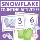 Winter Snowflake math activities | snow math counting mats 0-20