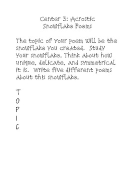 Snowflake or Winter Poem Centers