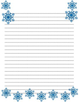 Snowflake/winter Themed Lined Paper