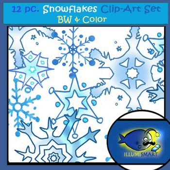 """""""Snowflakes"""" 12 pc. Clip-Art Set BW and Color"""