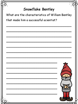 Winter: Informative Text on Snowflakes and Questions for text, Snowflake Bentley