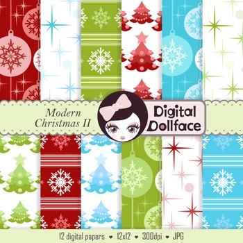 Snowflakes & Christmas Trees Digital Papers / holiday backgrounds
