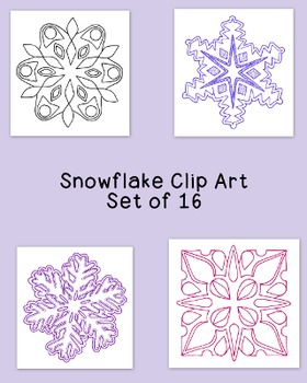 Snowflakes Clip Art Bundle Winter PNG JPG Blackline Commercial or Personal