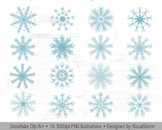 Snowflakes Clip Art - Digital Snowflake Graphics
