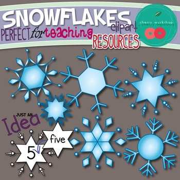 Snowflakes Clip Art Perfect for Teaching Resources