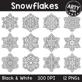Snowflakes Clipart Christmas ( Black & White ) {Arty Clips}