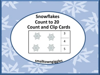 Count and Clip Task Cards Counting Snowflakes 1 to 20
