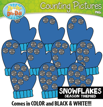 Snowflakes Counting Pictures Clipart {Zip-A-Dee-Doo-Dah Designs}