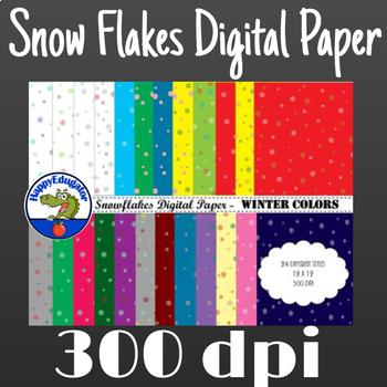 Snowflakes Digital Paper - Winter Colors