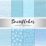Snowflakes Digital Paper. White snow on blue watercolor ba