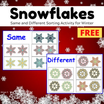 FREE Winter Activity for Autism, Same and Different, Snowflakes