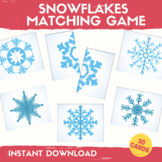 Snowflakes Matching Game Winter Center Activities Preschoo