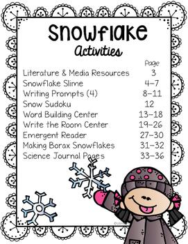 Snowflakes, Kindergarten Literacy & Science