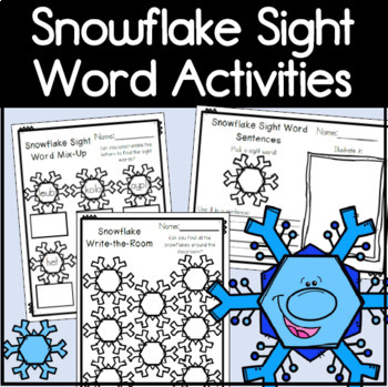 Snowflake Sight Word Literacy Centers for Kindergarten