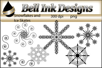 Snowflakes and Ice Skates Clipart