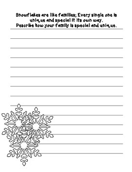 Snowflakes are like families! ~Creative Writing