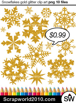 Snowflakes clipart  gold glitter