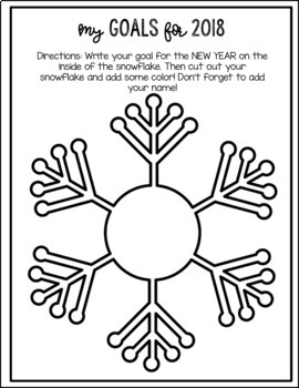 New Year's Snowflakes of Kindness, Affirmations and Goals - Writing Activity