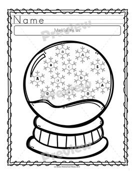 Snowglobe Letter Activity - ABC Letter Identification Worksheets