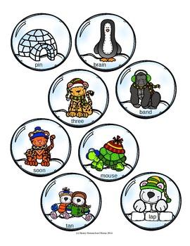 Snowglobe Rhyming Activity - Match the Rhyming Words File Folder Activity