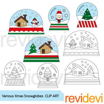 Snowglobes clip art: Christmas snow globes clipart
