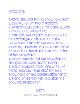 Snowing Fractions Craftivity