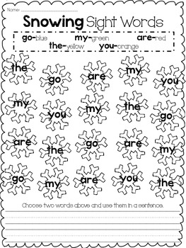 Snowing Sight Words