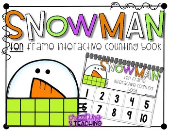 Snowman 10 Frame Counting Interactive Book