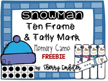Snowman 10 Frame and Tally Mark Memory Game