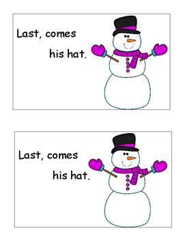 Winter Activities, Snowman Emergent Reader Drawing Sequencing, Winter Themed