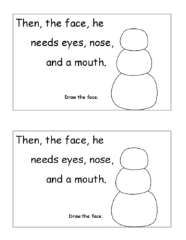 January Activities, Snowman Emergent Reader Drawing Sequencing, Winter Themed