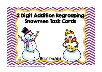 Snowman 2 Digit Addition Regrouping Task Cards
