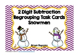 Snowman 2 Digit Subtraction Regrouping Task Cards