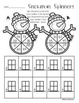 Snowman: 2 and 3 Digit Addition Spinners