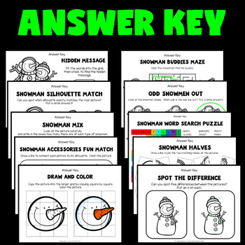 Christmas Worksheets (Snowman Activities for Kindergarten, 1st and 2nd Grade)
