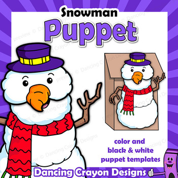 Snowman Craft Activity | Printable Paper Bag Puppet Template