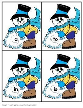 Snowman 300 Fry Sight Words 'Bang' Game