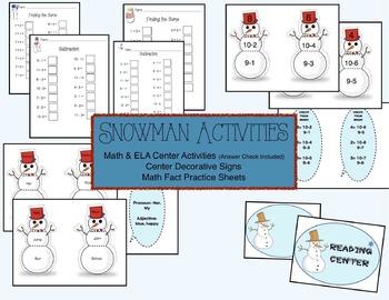 Snowman Activities Math and ELA