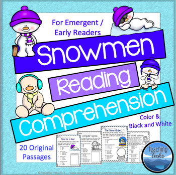 Snowman Activities: Snowmen Reading Comprehension Worksheets by ...