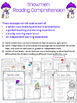 Snowman Activities: Snowmen Reading Comprehension Worksheets