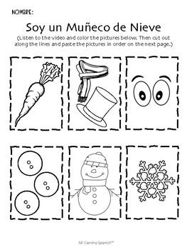 Snowman Activity for Spanish Students! - ¡Soy un Muñeco de Nieve!
