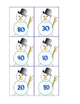 Snowman Adding and Subtracting Multiples of Ten