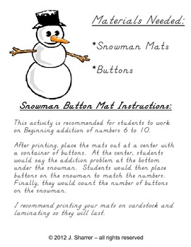 Snowman Addition (6 to 10) with Buttons