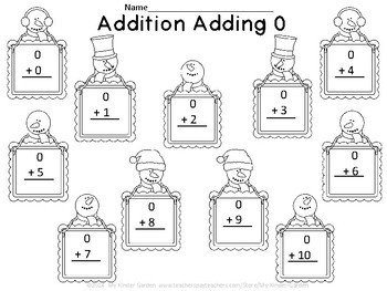 Snowman Addition Adding 0-10 Math Worksheets